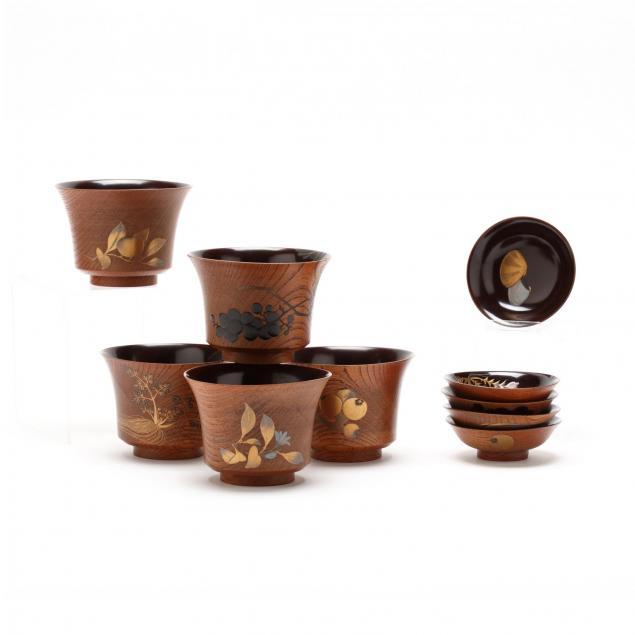a-set-of-five-lacquered-keyaki-wood-soup-bowls-and-covers-by-ikeda-taishin-japanese-1825-1903