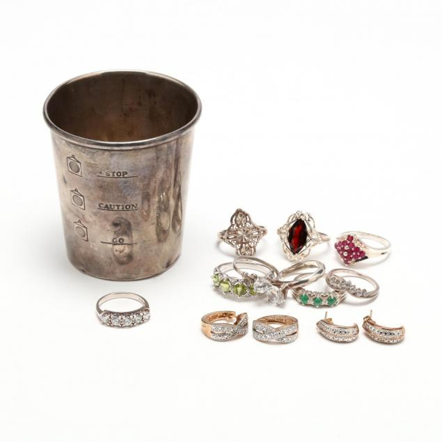 group-of-sterling-jewelry-and-jigger-cup