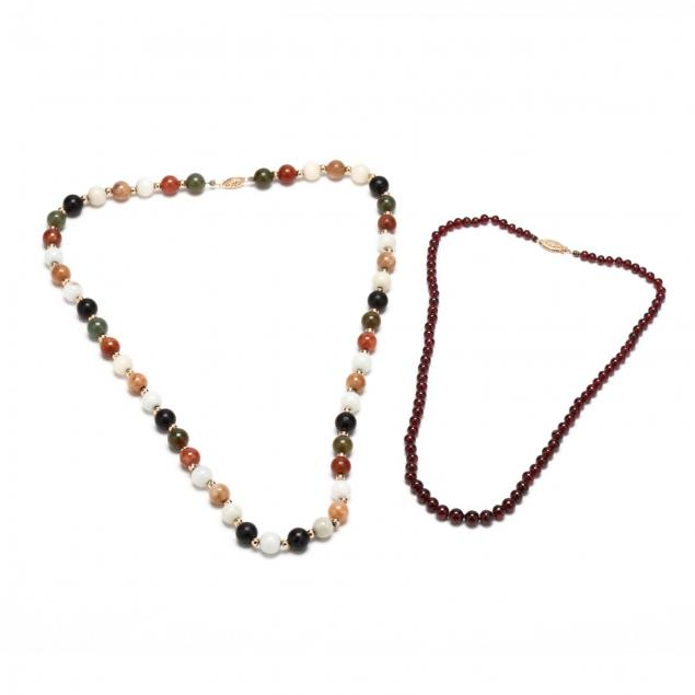 two-14kt-gold-and-bead-necklaces