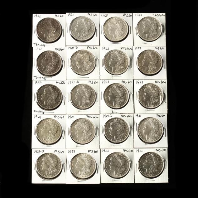 twenty-1921-dated-morgan-silver-dollars-ef-unc