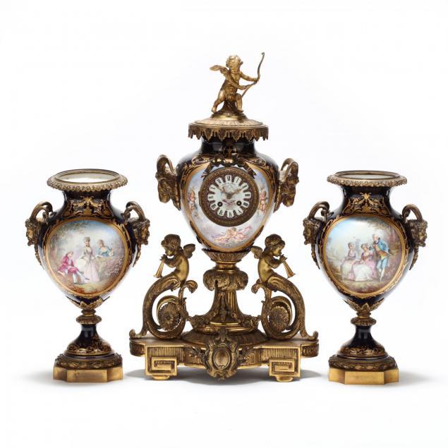 french-porcelain-ormolu-mounted-clock-garniture-set