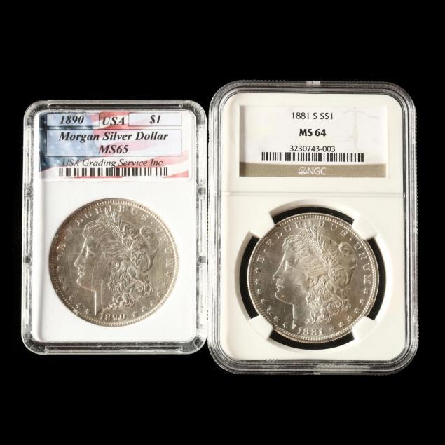 two-uncirculated-morgan-silver-dollars