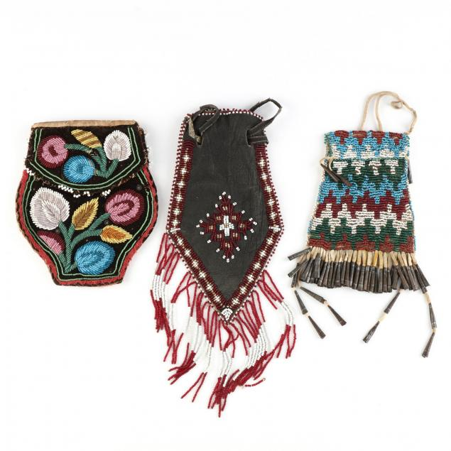 three-native-american-beaded-bags