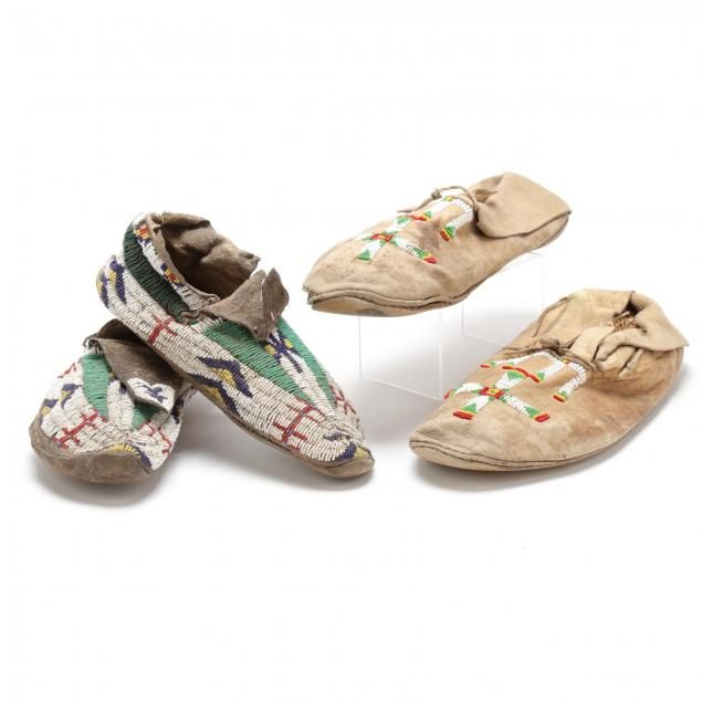 two-pair-of-early-native-american-beaded-moccasins