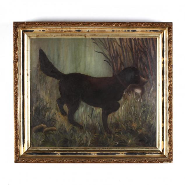 an-american-folk-art-painting-of-a-hound-with-hare