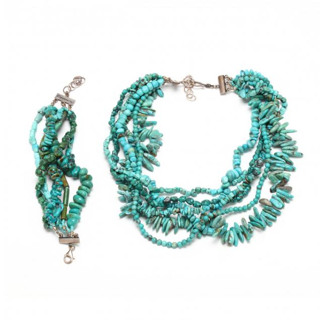sterling-silver-and-turquoise-multi-strand-bracelet-and-necklace-mercedes-salazar