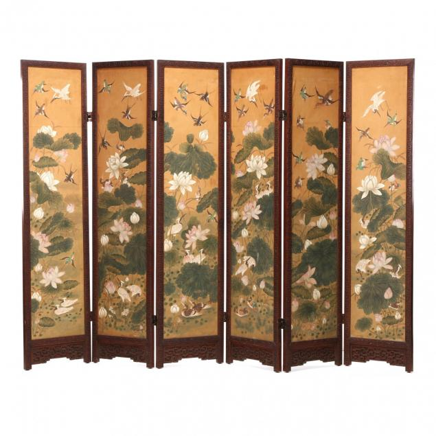 a-korean-six-fold-screen-of-lotus-and-birds