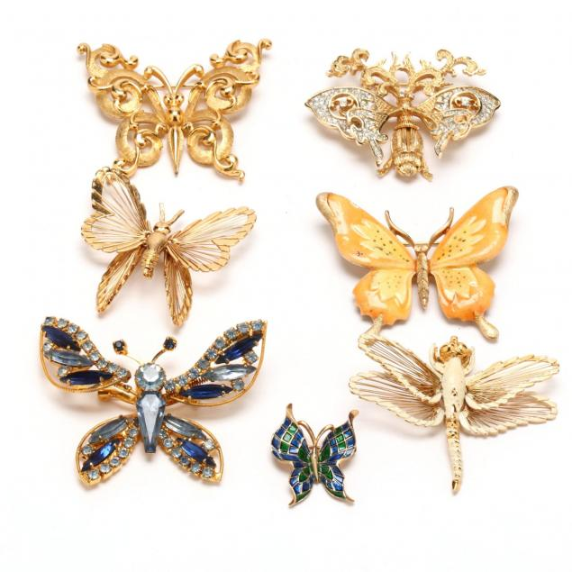 seven-designer-signed-butterfly-brooches