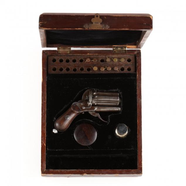 cased-belgian-pinfire-double-action-revolver