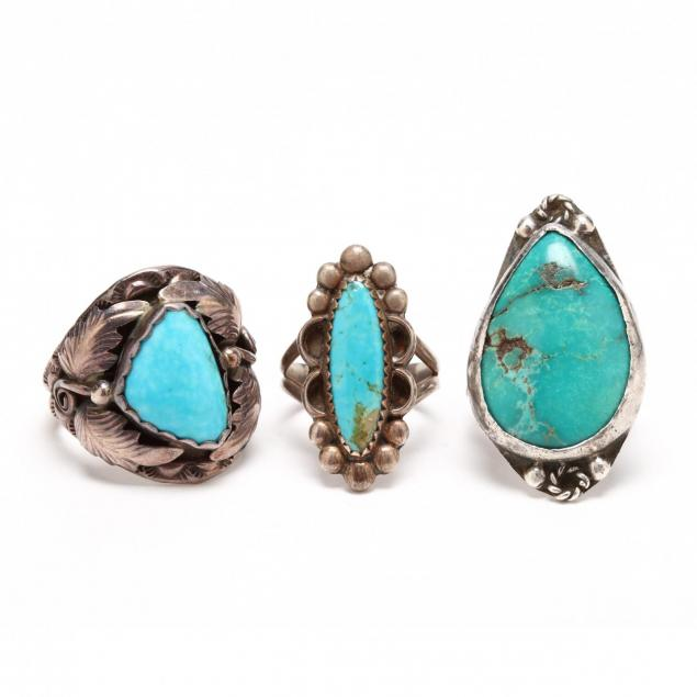 three-southwestern-silver-and-turquoise-rings