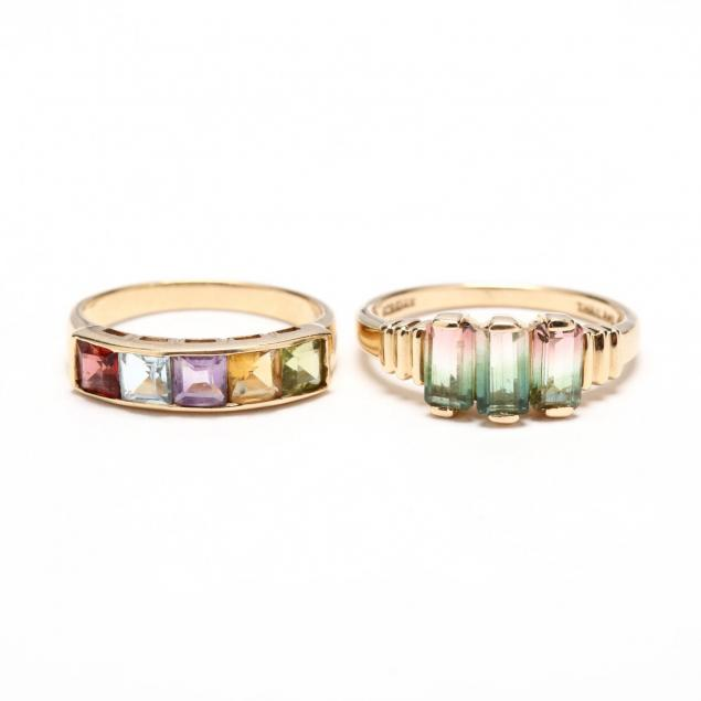 two-14kt-gem-set-rings