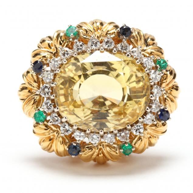 18kt-gold-ceylon-yellow-sapphire-diamond-emerald-and-sapphire-clip-brooch
