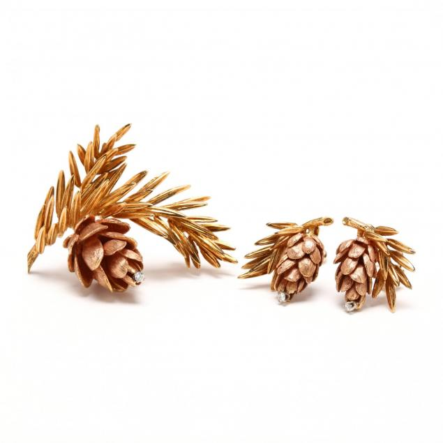 18kt-gold-and-diamond-pine-cone-suite-signed