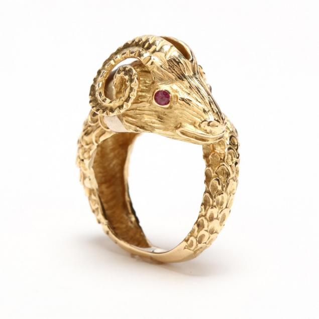 18kt-gold-and-gem-set-ram-s-head-ring
