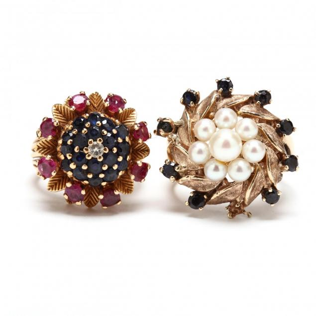 two-gold-and-gem-set-rings