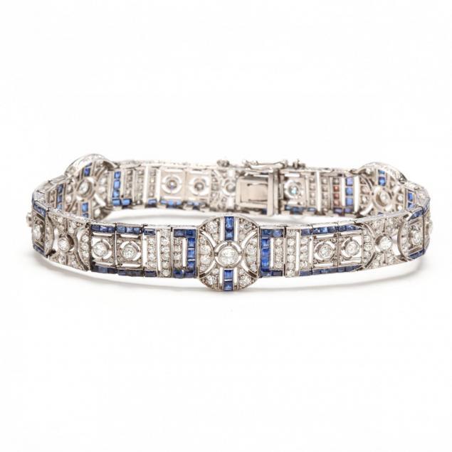 edwardian-platinum-diamond-and-sapphire-bracelet