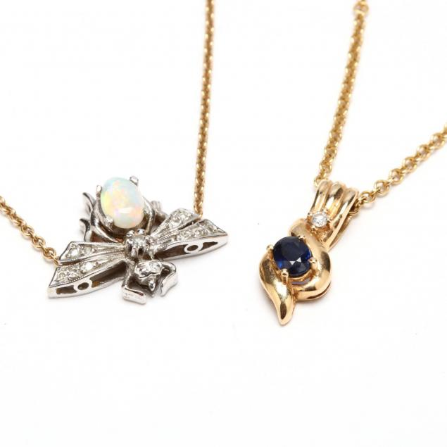 two-14kt-and-gem-set-necklaces