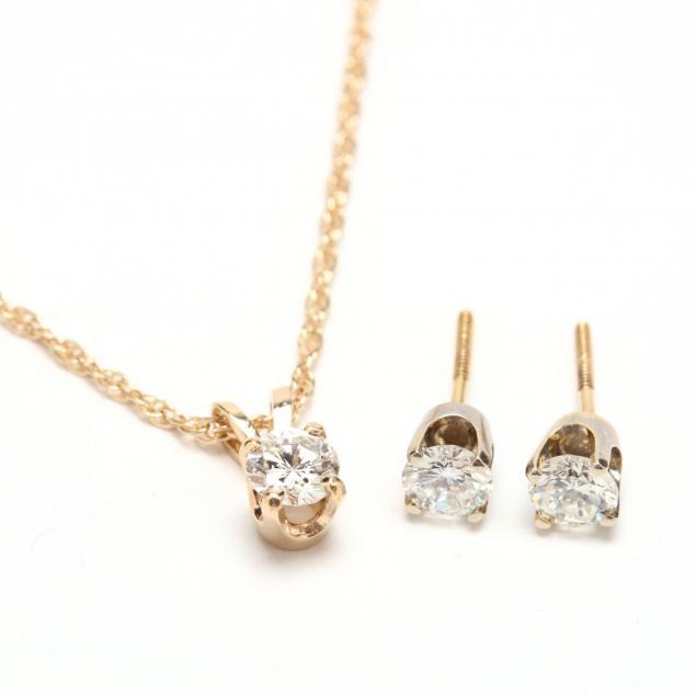 14kt-diamond-pendant-necklace-and-diamond-ear-studs