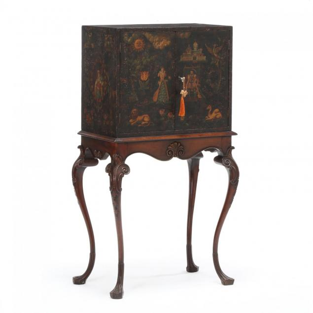 antique-english-paint-decorated-cabinet-on-stand