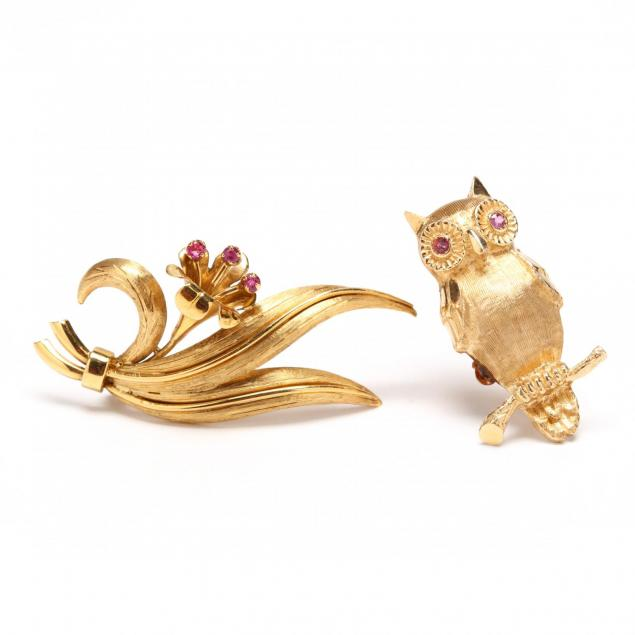 18kt-gem-set-brooch-by-tiffany-co-and-a-14kt-owl-brooch