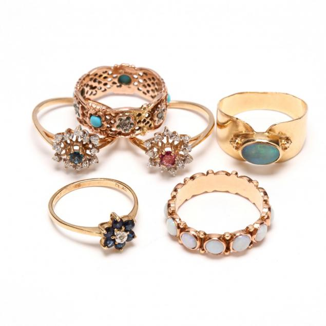 six-gold-and-gem-set-rings