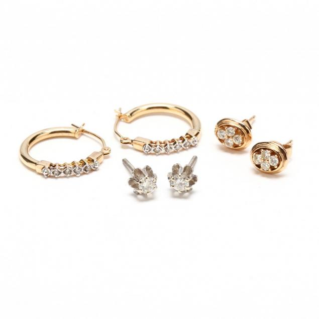 three-pairs-of-14kt-gold-and-diamond-accented-earrings