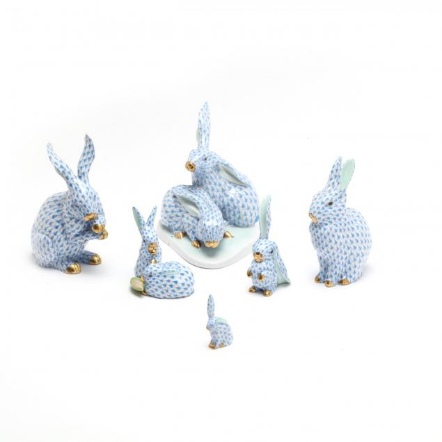 six-herend-porcelain-fishnet-rabbits