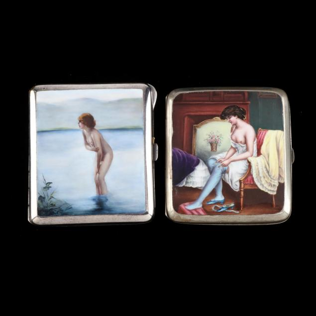 two-antique-enameled-silver-cigarette-cases