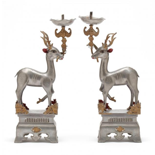 a-pair-of-chinese-gilt-pewter-deer-candlesticks
