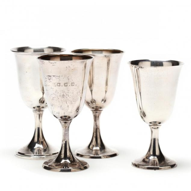 four-assembled-sterling-silver-goblets