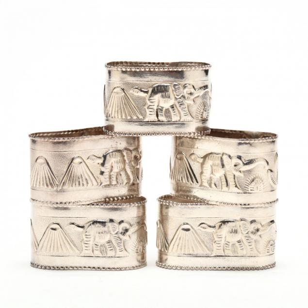 set-of-five-silver-napkin-rings