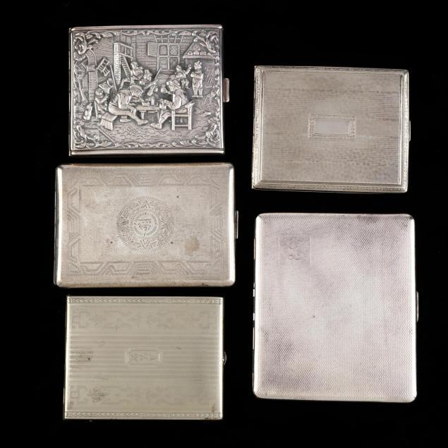five-vintage-antique-silverplate-cigarette-cases