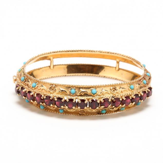 vintage-14kt-gold-garnet-and-turquoise-bracelet