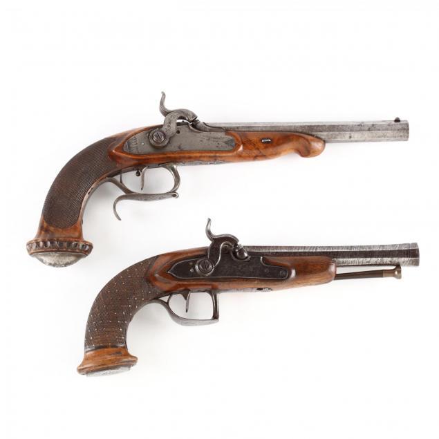 two-continental-percussion-pistols