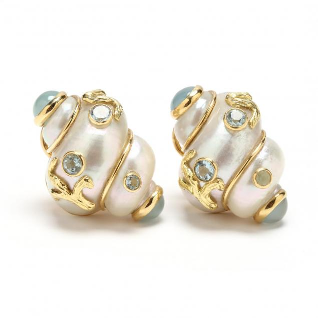 18kt-gold-sea-shell-and-aquamarine-ear-clips-maz
