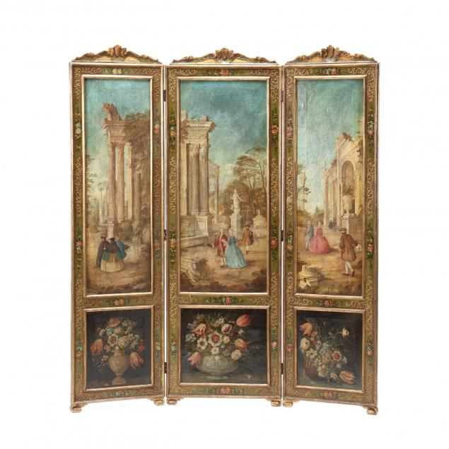 antique-italianate-painted-three-panel-floor-screen