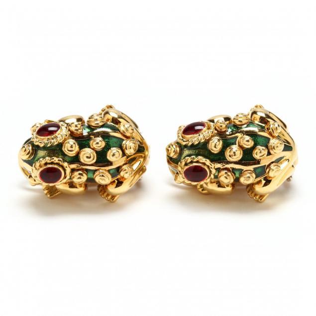 18kt-gold-enamel-and-gem-set-ear-clips