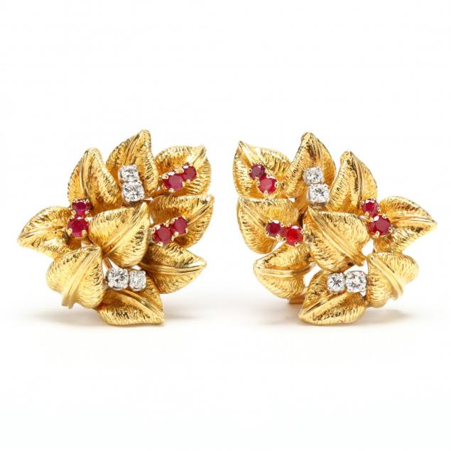 18kt-gold-diamond-and-ruby-ear-clips