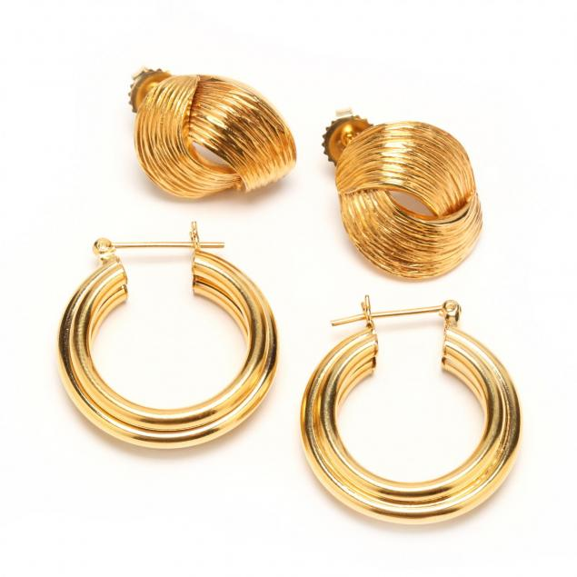 two-pairs-14kt-gold-earrings