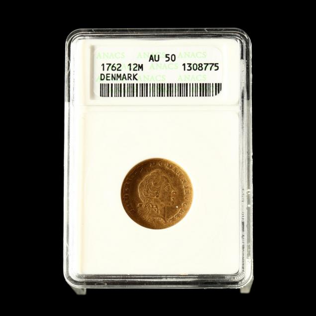 denmark-1762-k-gold-12-mark-anacs-au50