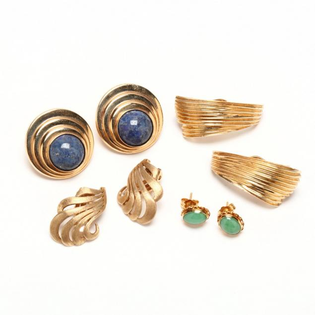 four-pairs-of-14kt-gold-earrings