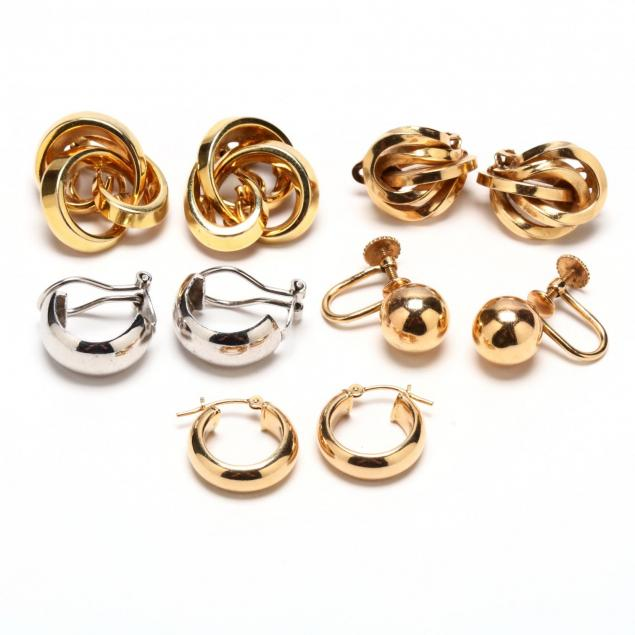 five-pairs-of-14kt-gold-earrings