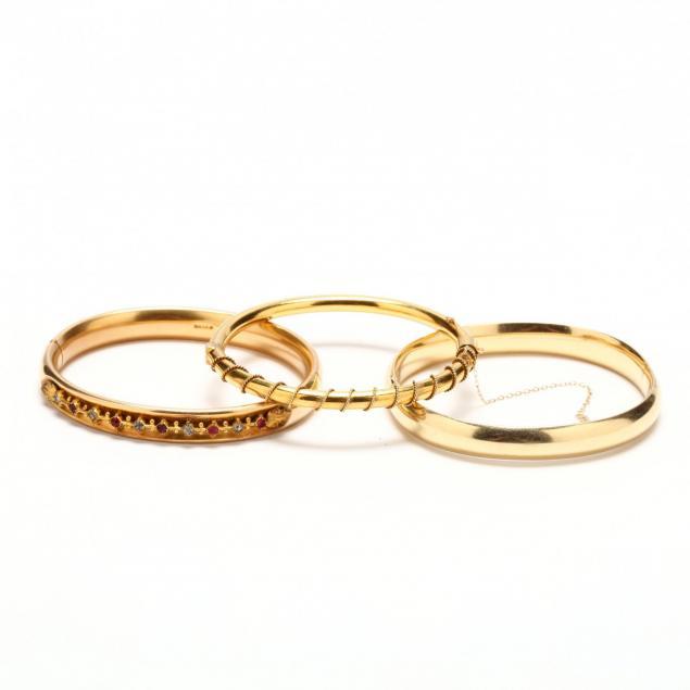 three-14kt-gold-bangle-bracelets