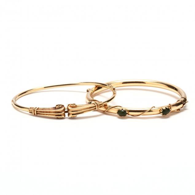 two-gold-bangle-bracelets