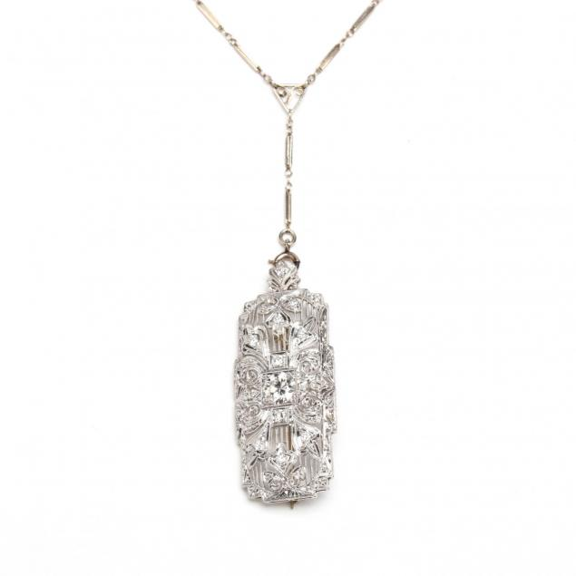 edwardian-platinum-and-diamond-brooch-pendant-with-14kt-gold-chain-necklace