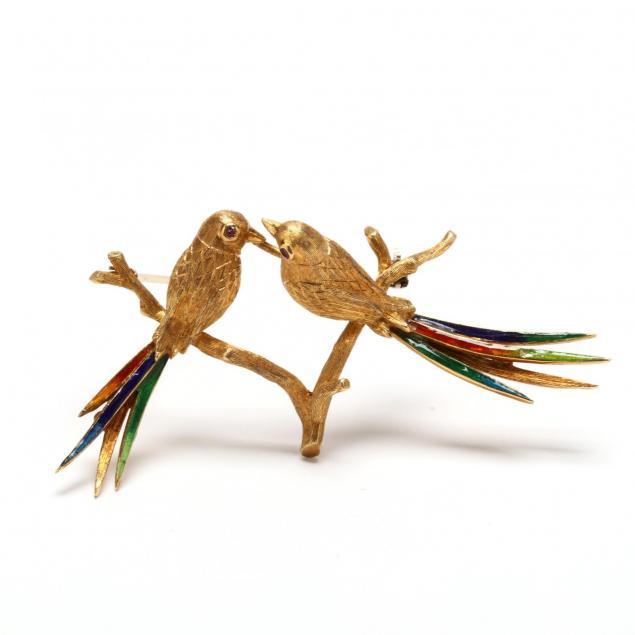18kt-gold-and-enamel-bird-brooch-italy