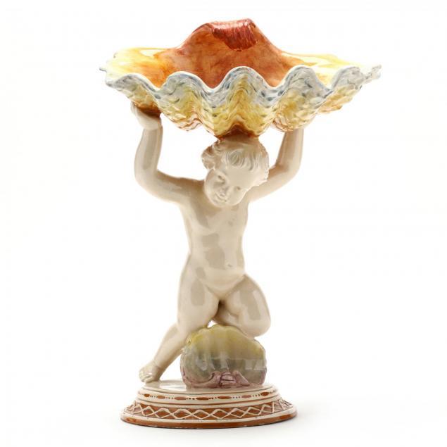majolica-figural-tazza-with-shell