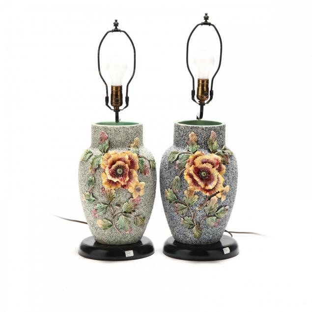 a-pair-of-antique-sanded-majolica-vases-with-lamp-stands