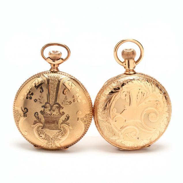 two-vintage-gold-filled-hunter-case-pocket-watches