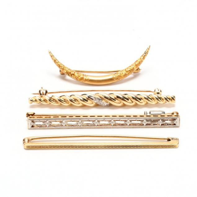 four-14kt-gold-brooches